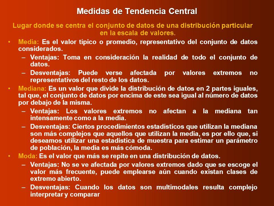 Medidas de Tendencia Central Lugar donde se centra el conjunto de datos de una distribución particular en la escala de valores. Media: Es el valor típ