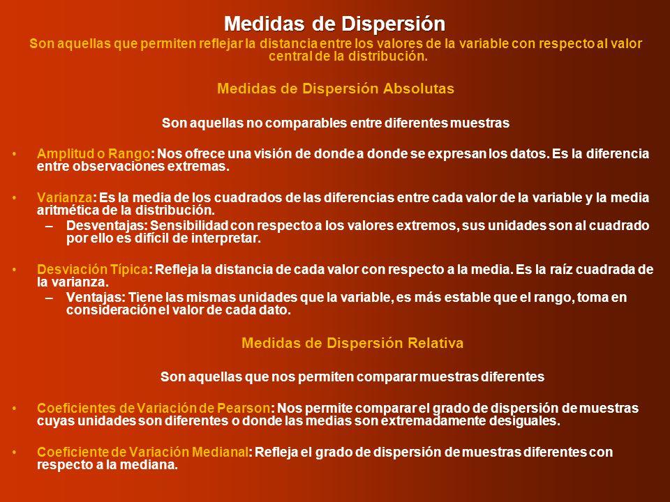 Medidas de Dispersión Son aquellas que permiten reflejar la distancia entre los valores de la variable con respecto al valor central de la distribució