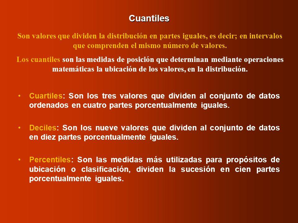 Cuantiles Cuartiles: Son los tres valores que dividen al conjunto de datos ordenados en cuatro partes porcentualmente iguales. Deciles: Son los nueve