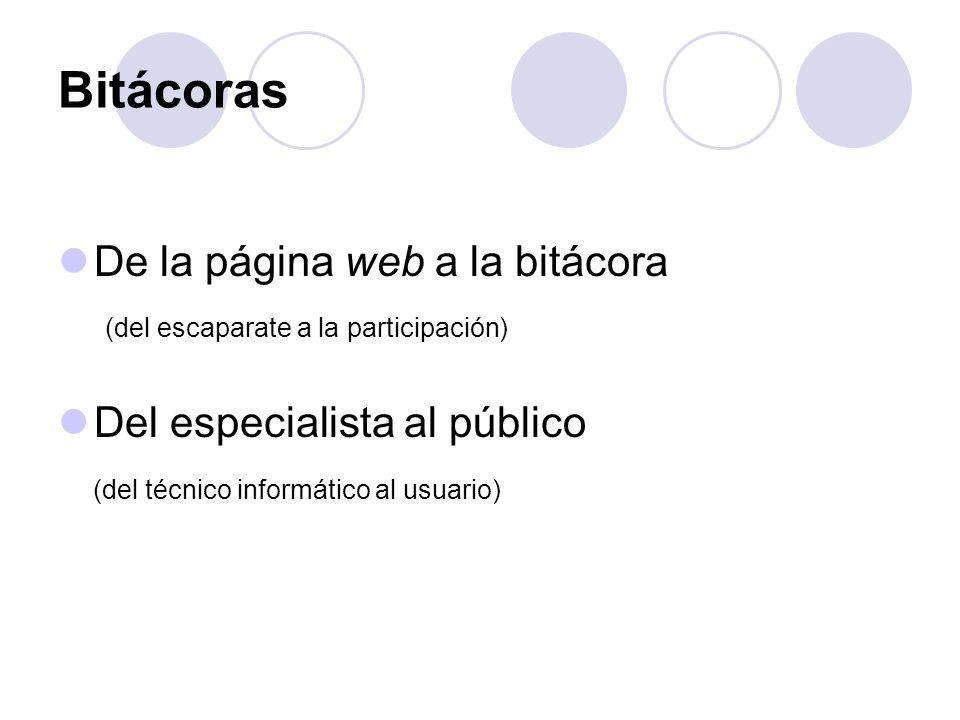 Bitácoras De la página web a la bitácora (del escaparate a la participación) Del especialista al público (del técnico informático al usuario)