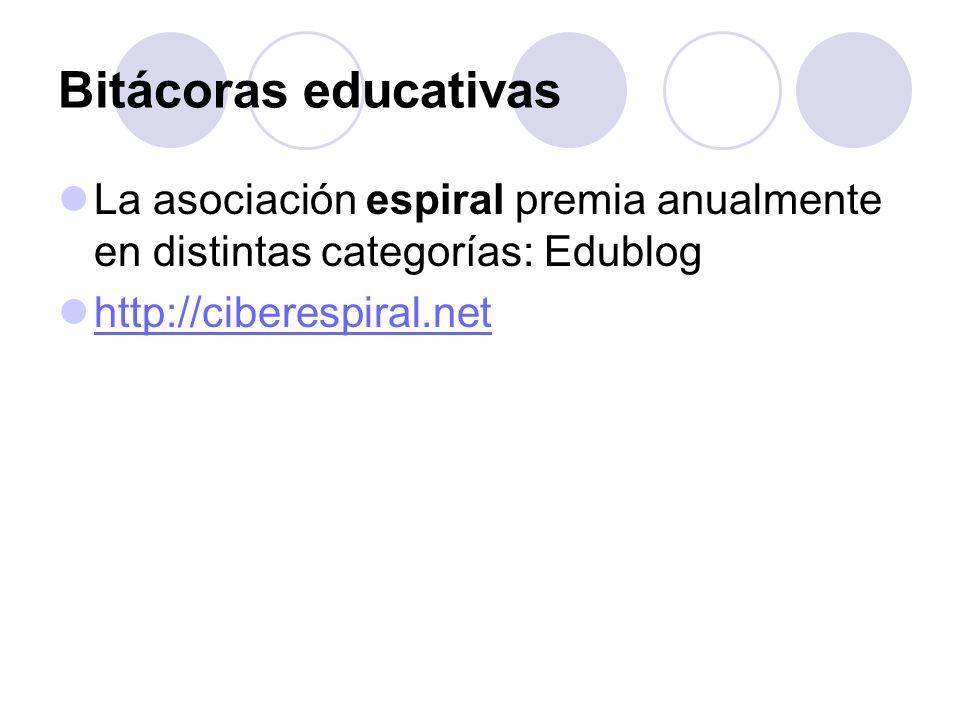 Bitácoras educativas La asociación espiral premia anualmente en distintas categorías: Edublog http://ciberespiral.net