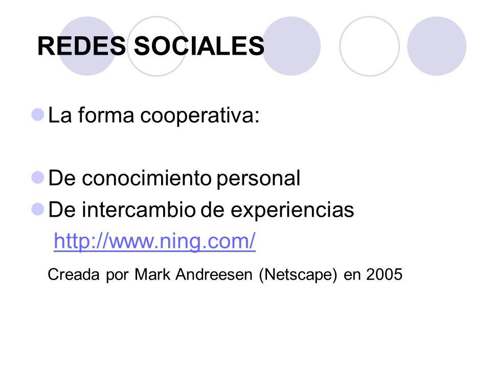 REDES SOCIALES La forma cooperativa: De conocimiento personal De intercambio de experiencias http://www.ning.com/ Creada por Mark Andreesen (Netscape) en 2005