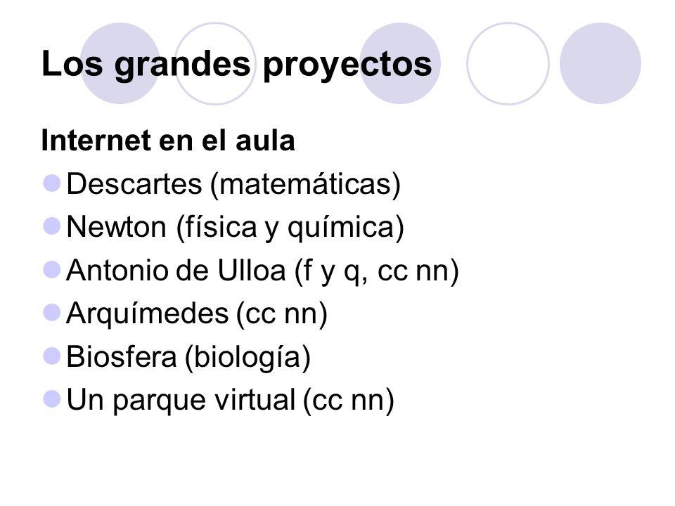 Los grandes proyectos Internet en el aula Descartes (matemáticas) Newton (física y química) Antonio de Ulloa (f y q, cc nn) Arquímedes (cc nn) Biosfer