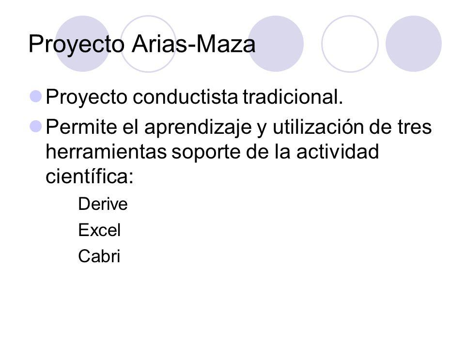 Proyecto Arias-Maza Proyecto conductista tradicional. Permite el aprendizaje y utilización de tres herramientas soporte de la actividad científica: De