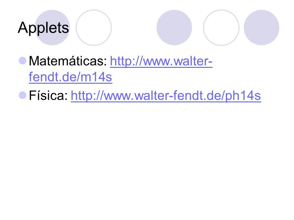 Applets Matemáticas: http://www.walter- fendt.de/m14shttp://www.walter- fendt.de/m14s Física: http://www.walter-fendt.de/ph14shttp://www.walter-fendt.