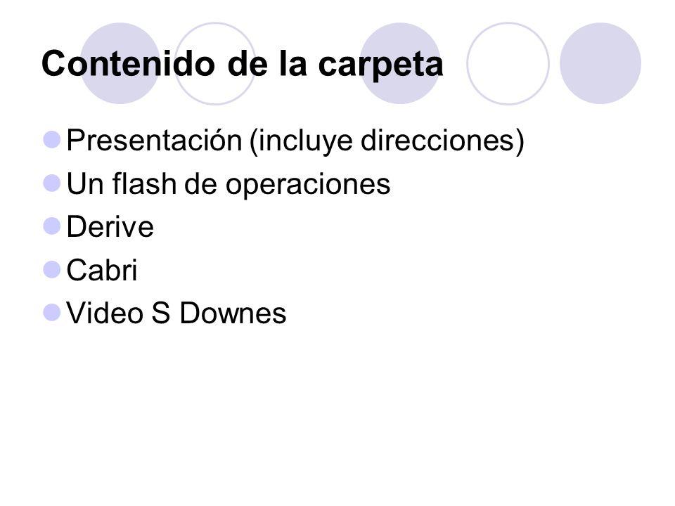 Contenido de la carpeta Presentación (incluye direcciones) Un flash de operaciones Derive Cabri Video S Downes
