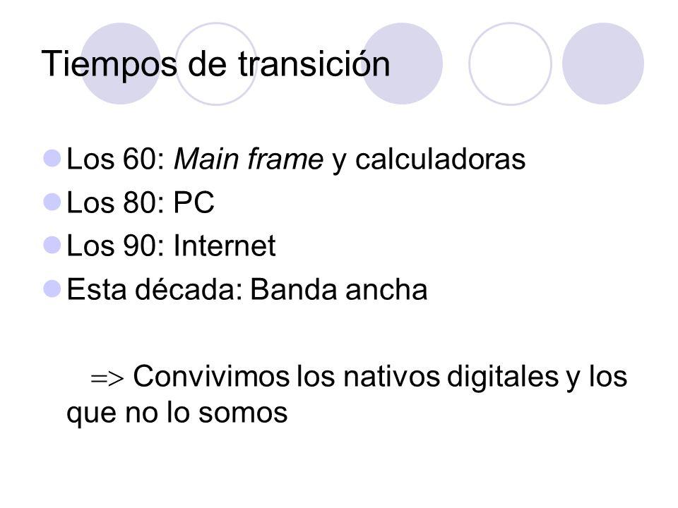 Tiempos de transición Los 60: Main frame y calculadoras Los 80: PC Los 90: Internet Esta década: Banda ancha Convivimos los nativos digitales y los que no lo somos