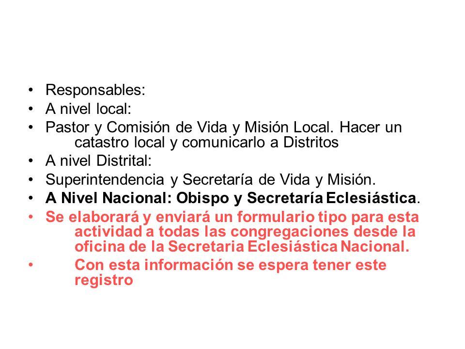 Responsables: A nivel local: Pastor y Comisión de Vida y Misión Local.