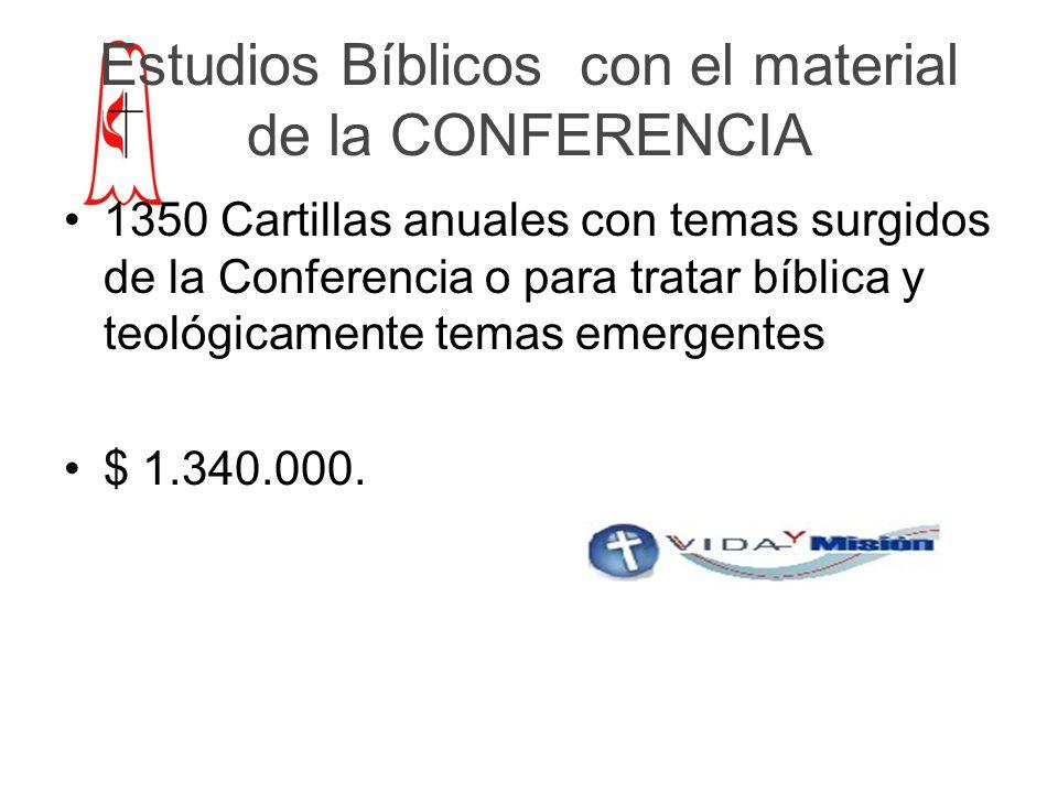 Estudios Bíblicos con el material de la CONFERENCIA 1350 Cartillas anuales con temas surgidos de la Conferencia o para tratar bíblica y teológicamente temas emergentes $ 1.340.000.
