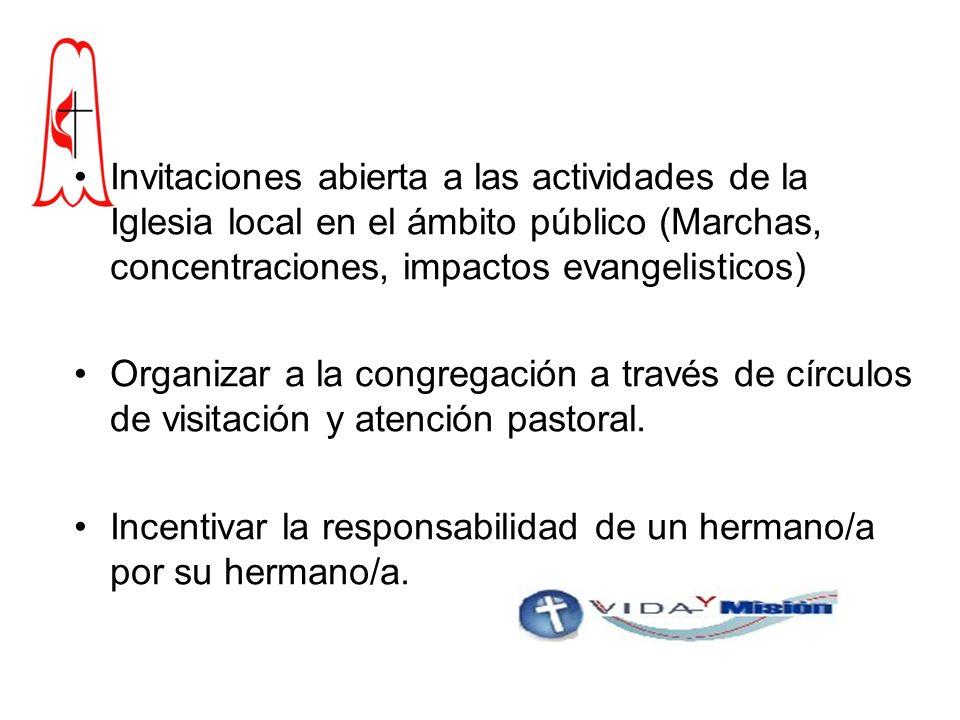 Invitaciones abierta a las actividades de la Iglesia local en el ámbito público (Marchas, concentraciones, impactos evangelisticos) Organizar a la congregación a través de círculos de visitación y atención pastoral.