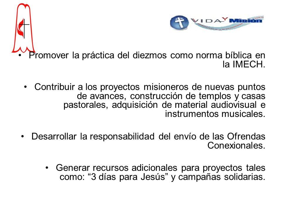 Promover la práctica del diezmos como norma bíblica en la IMECH.
