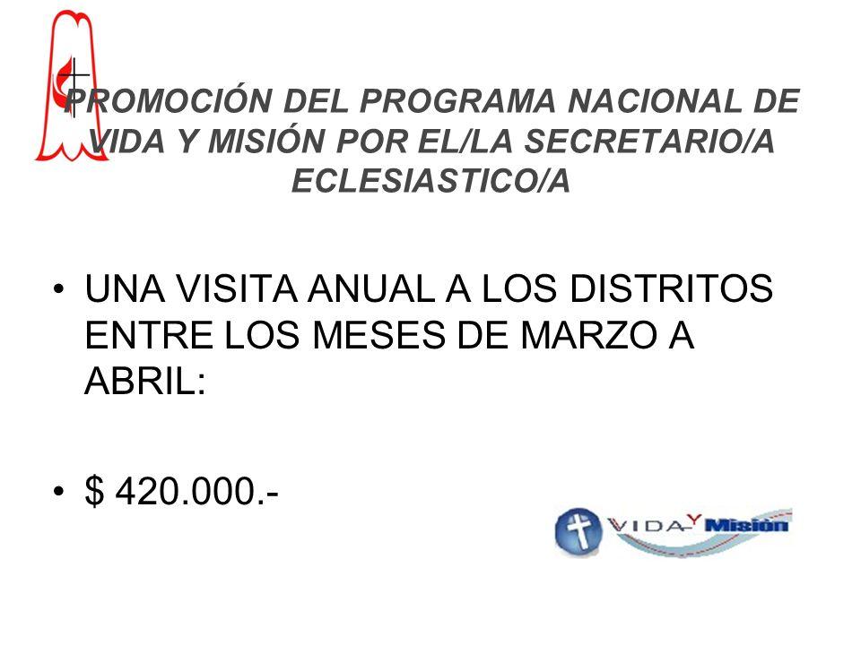 PROMOCIÓN DEL PROGRAMA NACIONAL DE VIDA Y MISIÓN POR EL/LA SECRETARIO/A ECLESIASTICO/A UNA VISITA ANUAL A LOS DISTRITOS ENTRE LOS MESES DE MARZO A ABRIL: $ 420.000.-