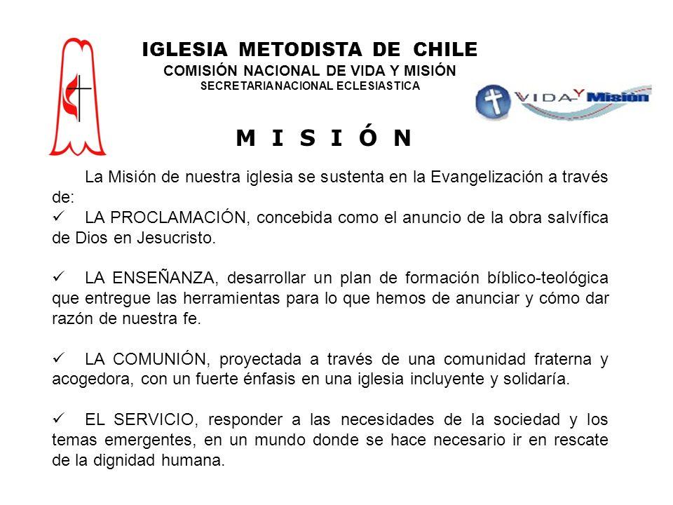 La Misión de nuestra iglesia se sustenta en la Evangelización a través de: LA PROCLAMACIÓN, concebida como el anuncio de la obra salvífica de Dios en Jesucristo.