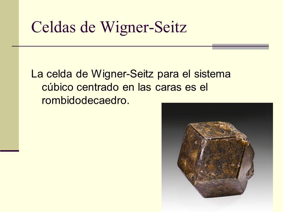 Celdas de Wigner-Seitz La celda de Wigner-Seitz para el sistema cúbico centrado en las caras es el rombidodecaedro.