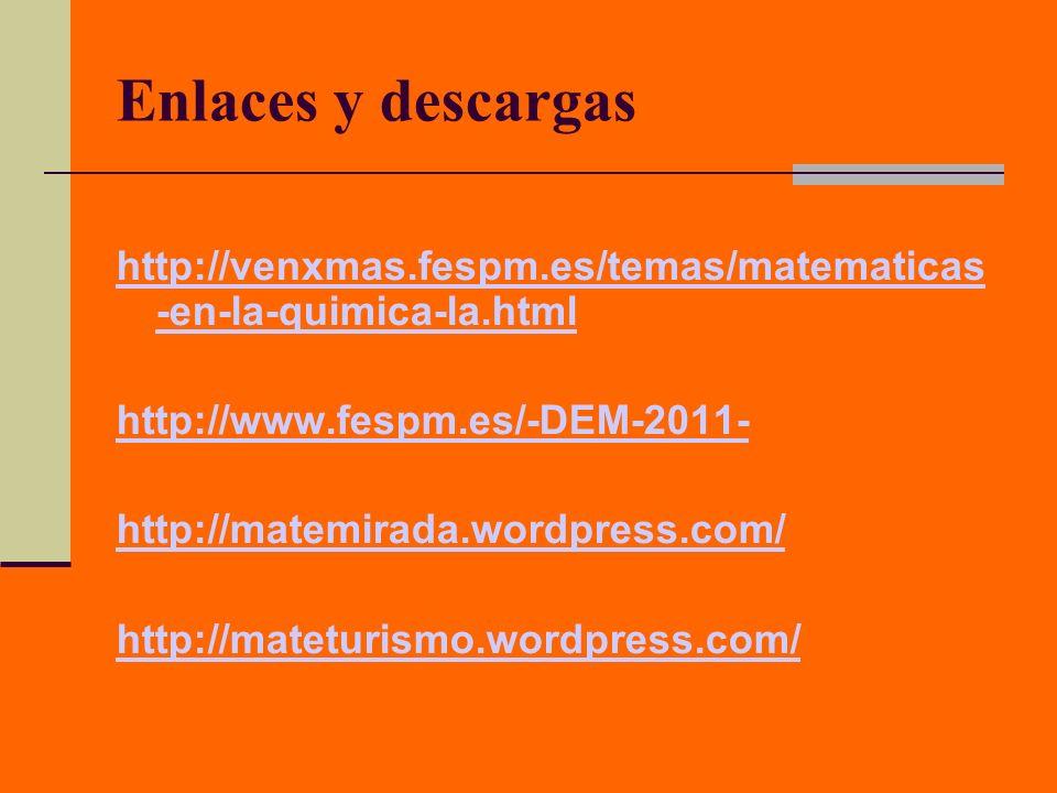 Enlaces y descargas http://venxmas.fespm.es/temas/matematicas -en-la-quimica-la.html http://www.fespm.es/-DEM-2011- http://matemirada.wordpress.com/ h