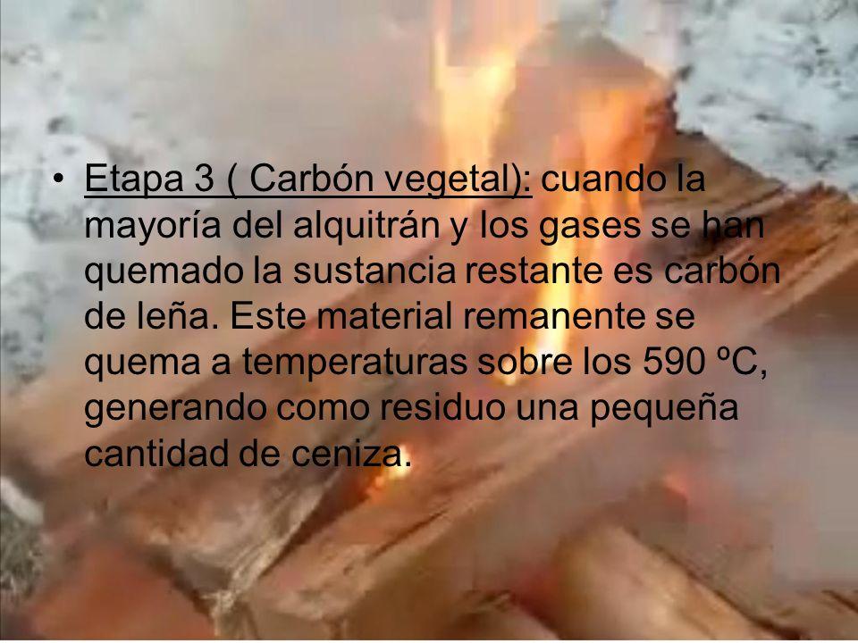 Etapa 3 ( Carbón vegetal): cuando la mayoría del alquitrán y los gases se han quemado la sustancia restante es carbón de leña. Este material remanente
