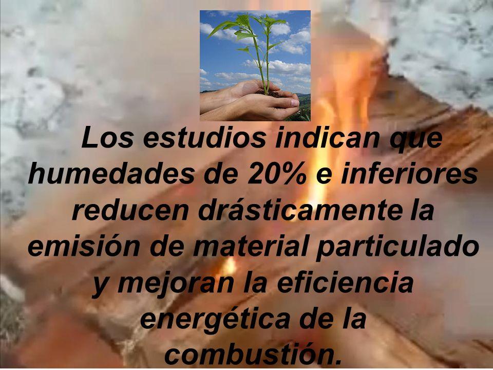 Los estudios indican que humedades de 20% e inferiores reducen drásticamente la emisión de material particulado y mejoran la eficiencia energética de