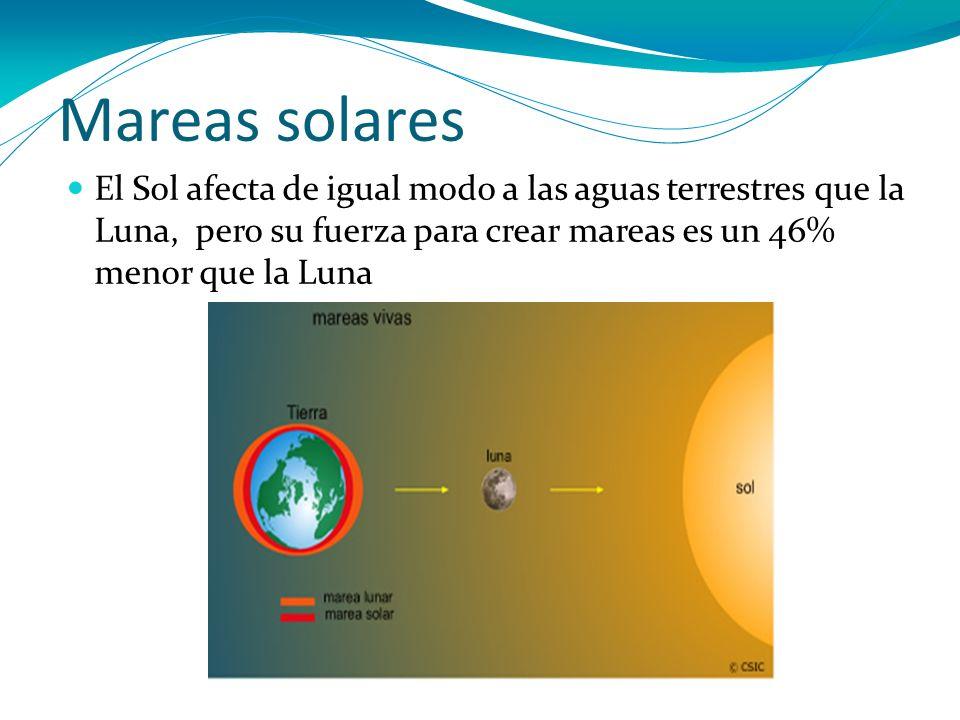 Mareas solares El Sol afecta de igual modo a las aguas terrestres que la Luna, pero su fuerza para crear mareas es un 46% menor que la Luna