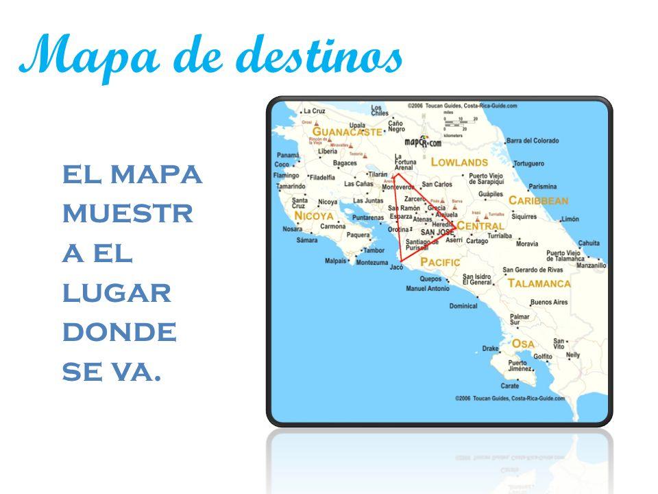 Mapa de destinos el mapa muestr a el lugar donde se va.