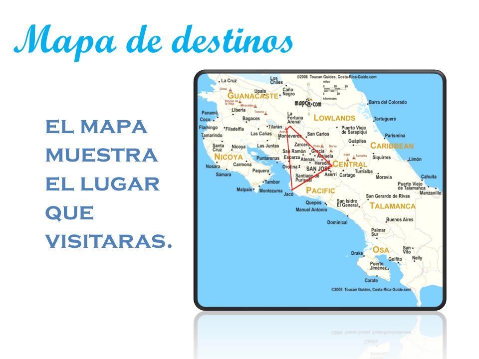 Mapa de destinos el mapa muestra el lugar que visitaras.