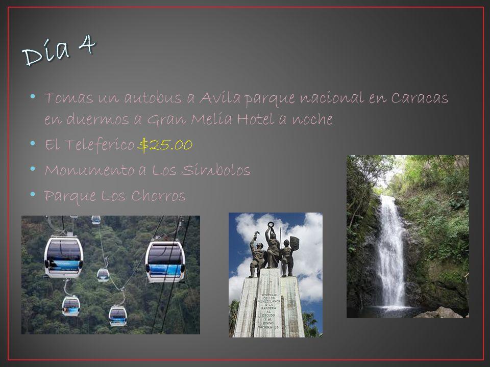 Tomas un autobus a Avila parque nacional en Caracas en duermos a Gran Melia Hotel a noche El Teleferico $25.00 Monumento a Los Simbolos Parque Los Chorros