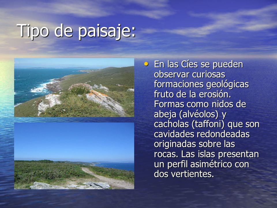 Tipo de paisaje: En las Cíes se pueden observar curiosas formaciones geológicas fruto de la erosión. Formas como nidos de abeja (alvéolos) y cacholas