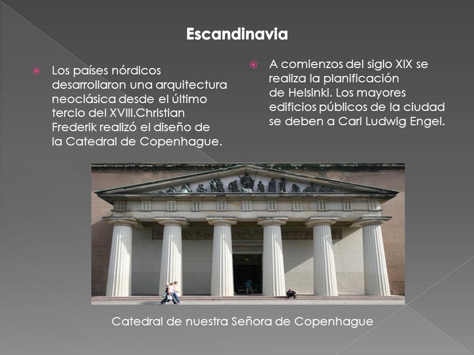 Los países nórdicos desarrollaron una arquitectura neoclásica desde el último tercio del XVIII.Christian Frederik realizó el diseño de la Catedral de Copenhague.