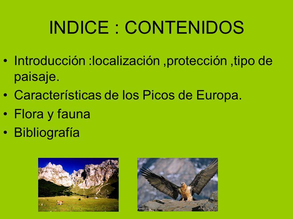 INDICE : CONTENIDOS Introducción :localización,protección,tipo de paisaje.