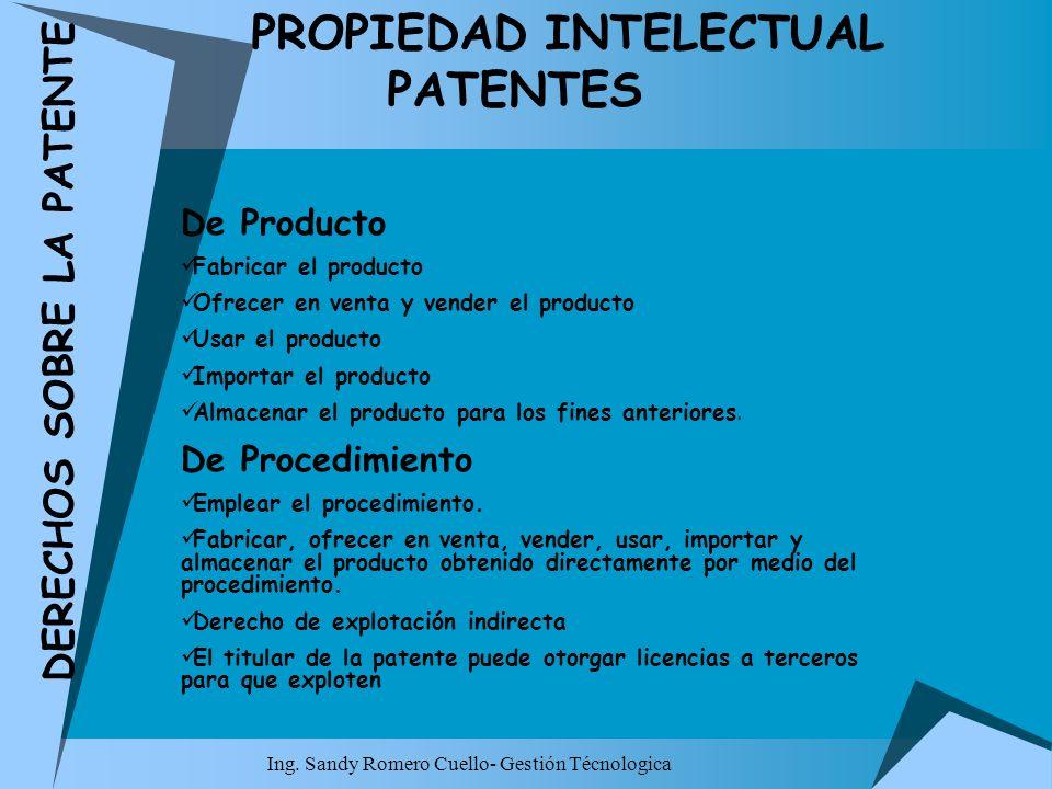 Ing. Sandy Romero Cuello- Gestión Técnologica PROPIEDAD INTELECTUAL PATENTES DERECHOS SOBRE LA PATENTE De Producto Fabricar el producto Ofrecer en ven