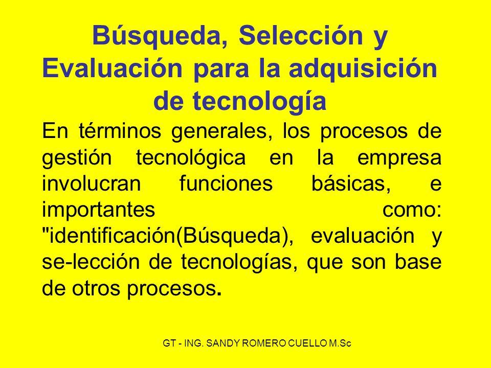 Búsqueda, Selección y Evaluación para la adquisición de tecnología En términos generales, los procesos de gestión tecnológica en la empresa involucran