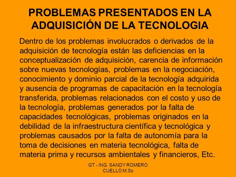 Dentro de los problemas involucrados o derivados de la adquisición de tecnología están las deficiencias en la conceptualización de adquisición, carenc