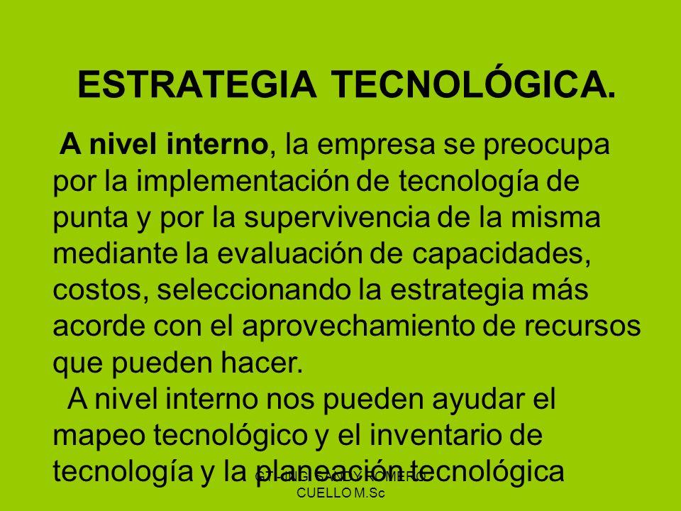 ESTRATEGIA TECNOLÓGICA. A nivel interno, la empresa se preocupa por la implementación de tecnología de punta y por la supervivencia de la misma median