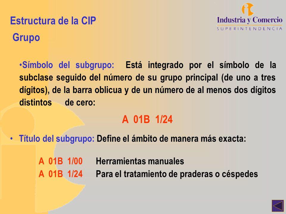 Estructura de la CIP Grupo Símbolo del subgrupo: Está integrado por el símbolo de la subclase seguido del número de su grupo principal (de uno a tres