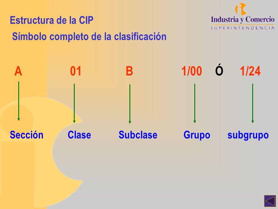 Estructura de la CIP Símbolo completo de la clasificación A01B1/00 Ó 1/24 SecciónClaseSubclaseGruposubgrupo