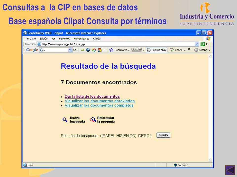 Consultas a la CIP en bases de datos Base española Clipat Consulta por términos