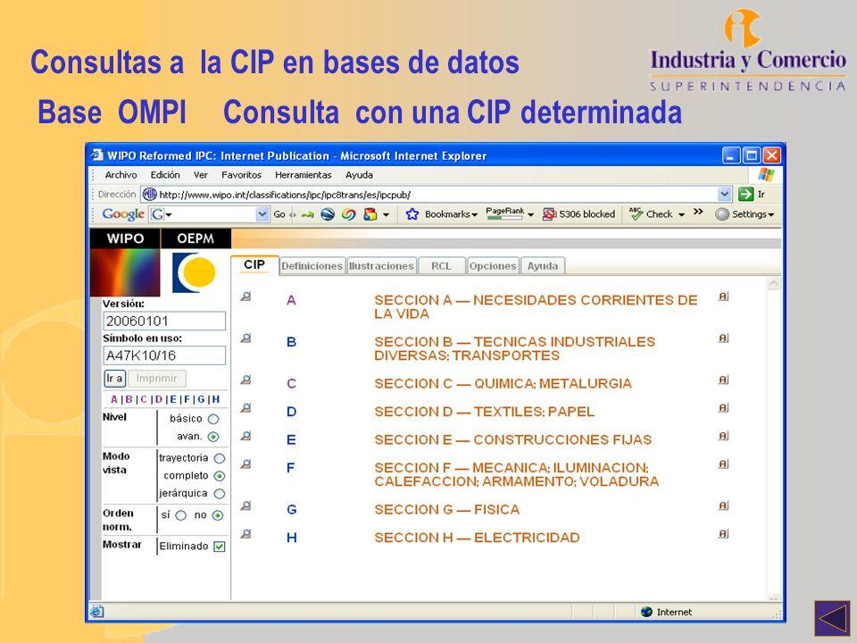 Consultas a la CIP en bases de datos Base OMPIConsulta con una CIP determinada