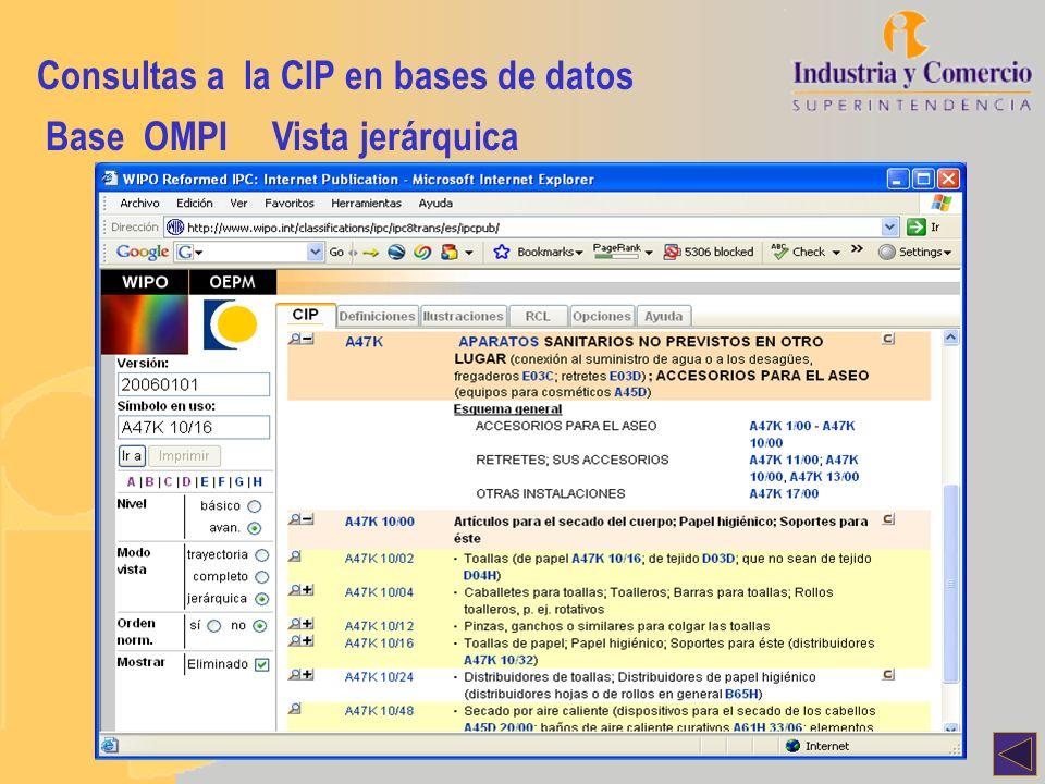 Consultas a la CIP en bases de datos Base OMPIVista jerárquica