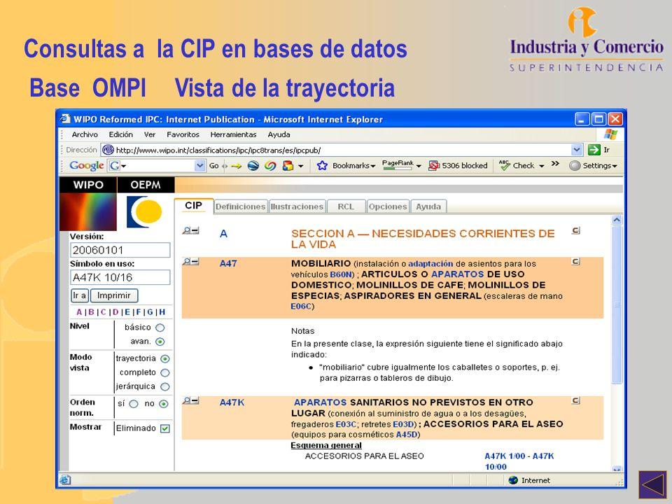 Consultas a la CIP en bases de datos Base OMPIVista de la trayectoria
