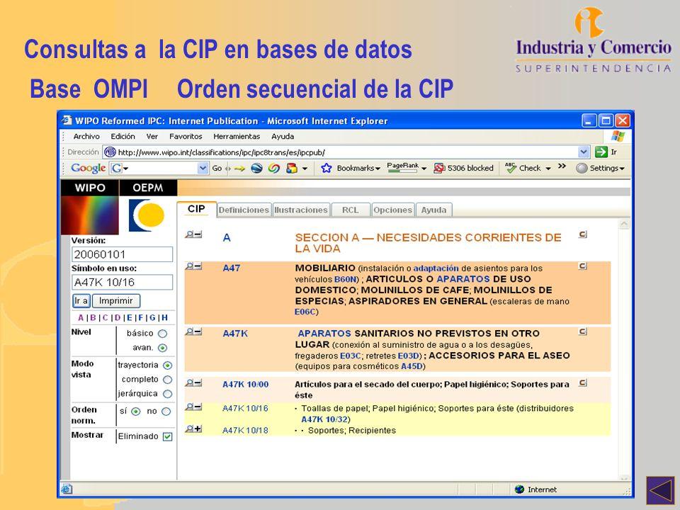 Consultas a la CIP en bases de datos Base OMPIOrden secuencial de la CIP