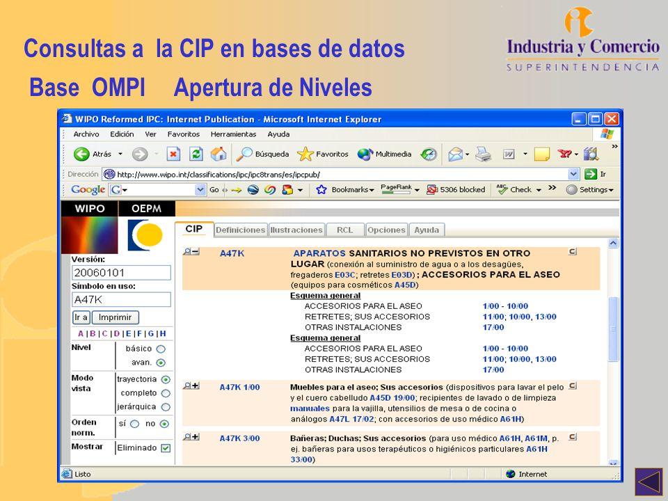 Consultas a la CIP en bases de datos Base OMPIApertura de Niveles