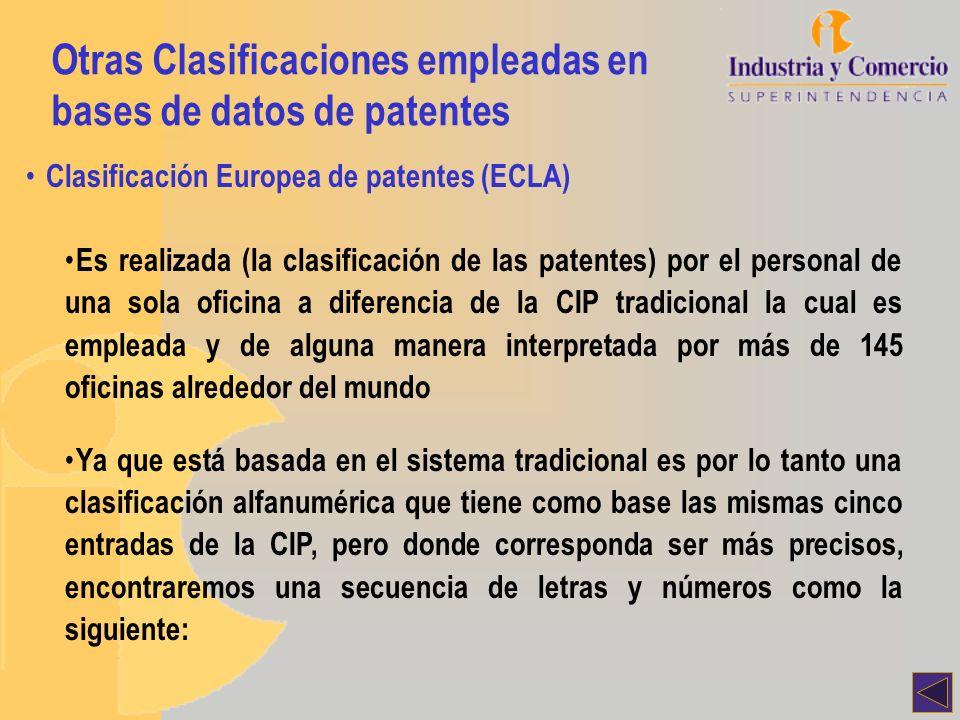 Otras Clasificaciones empleadas en bases de datos de patentes Clasificación Europea de patentes (ECLA) Es realizada (la clasificación de las patentes)