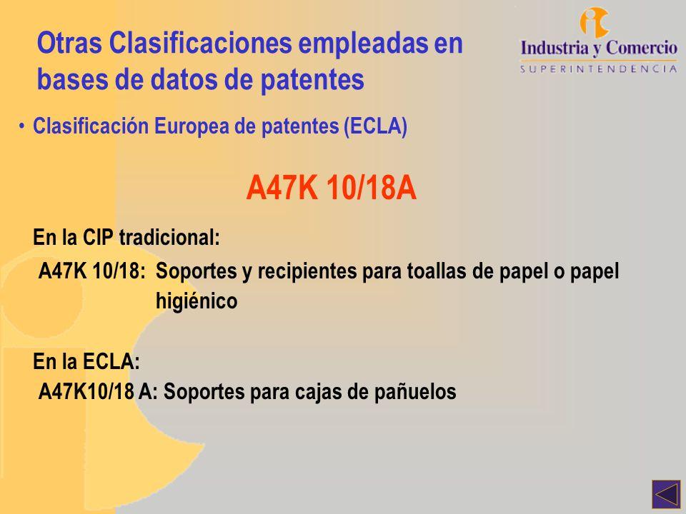 Otras Clasificaciones empleadas en bases de datos de patentes Clasificación Europea de patentes (ECLA) A47K 10/18A En la CIP tradicional: A47K 10/18: