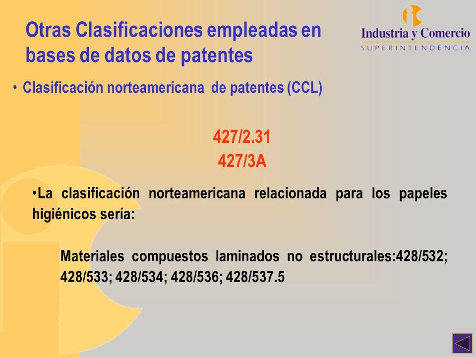 Otras Clasificaciones empleadas en bases de datos de patentes Clasificación norteamericana de patentes (CCL) 427/2.31 427/3A La clasificación norteame