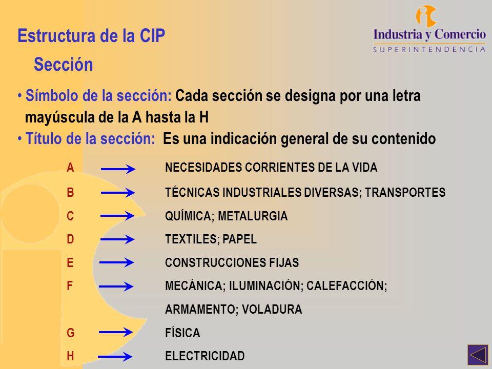 Símbolo de la sección: Cada sección se designa por una letra mayúscula de la A hasta la H Título de la sección: Es una indicación general de su conten