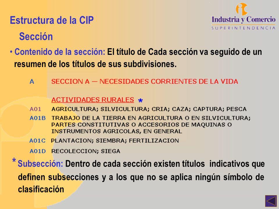 Estructura de la CIP Clase Cada sección se divide en varias clases Símbolo de la clase: Está integrado por el símbolo de la sección seguido de un número de dos dígitos: A 01 Título de la clase: El título de la clase da una indicación general de su contenido