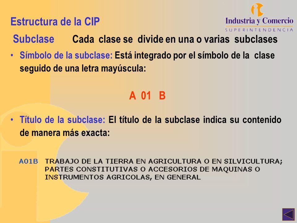 Estructura de la CIP Subclase Cada clase se divide en una o varias subclases Símbolo de la subclase: Está integrado por el símbolo de la clase seguido