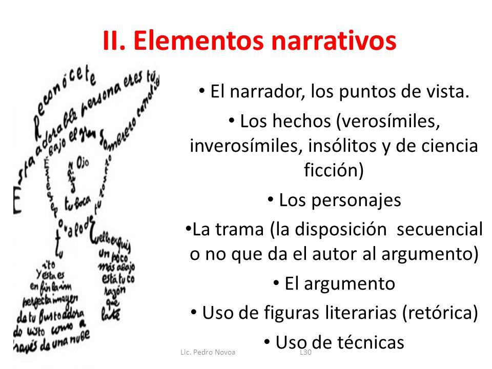 II. Elementos narrativos El narrador, los puntos de vista. Los hechos (verosímiles, inverosímiles, insólitos y de ciencia ficción) Los personajes La t