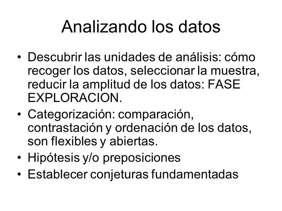 Analizando los datos Descubrir las unidades de análisis: cómo recoger los datos, seleccionar la muestra, reducir la amplitud de los datos: FASE EXPLOR