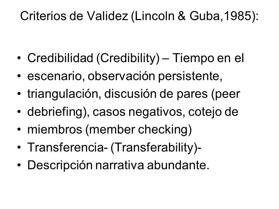Criterios de Validez (Lincoln & Guba,1985): Credibilidad (Credibility) – Tiempo en el escenario, observación persistente, triangulación, discusión de