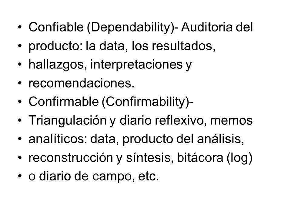 Confiable (Dependability)- Auditoria del producto: la data, los resultados, hallazgos, interpretaciones y recomendaciones. Confirmable (Confirmability